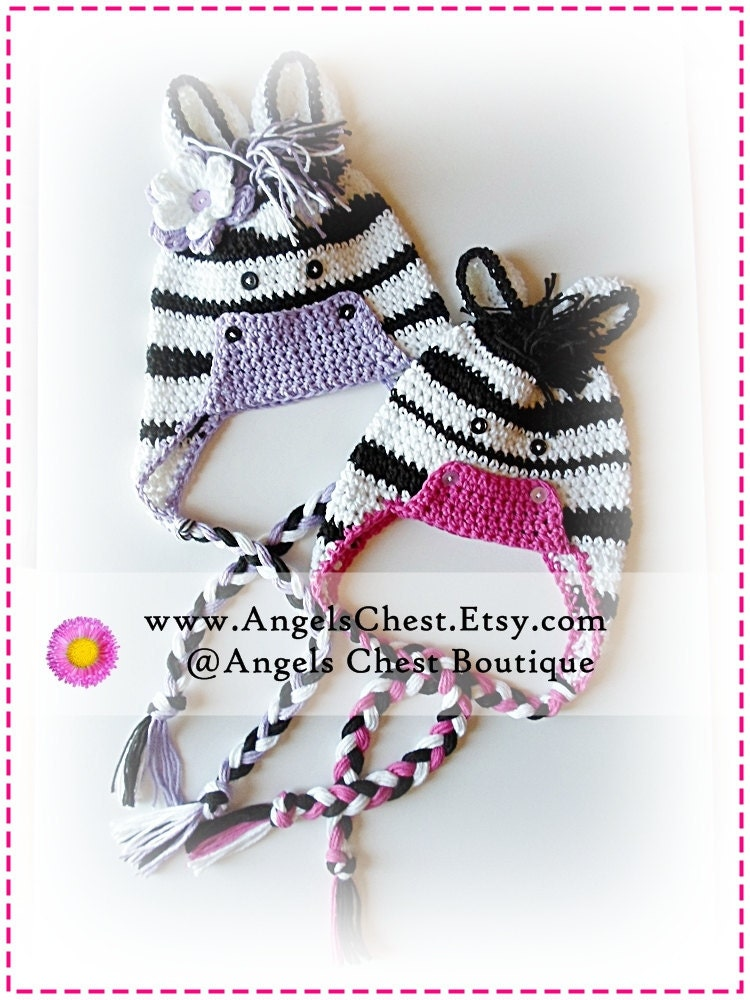 Crochet Pattern Zebra Hat : PDF PATTERN Cute Hand Crochet ZEBRA Hat Newborn to Adult Size