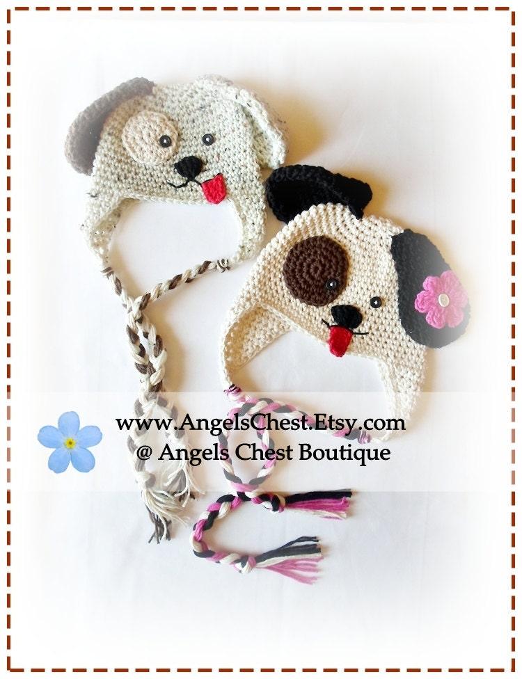 Crochet puppy dog hat pdf pattern sizes newborn to adult - Puppy dog crochet hat pattern ...
