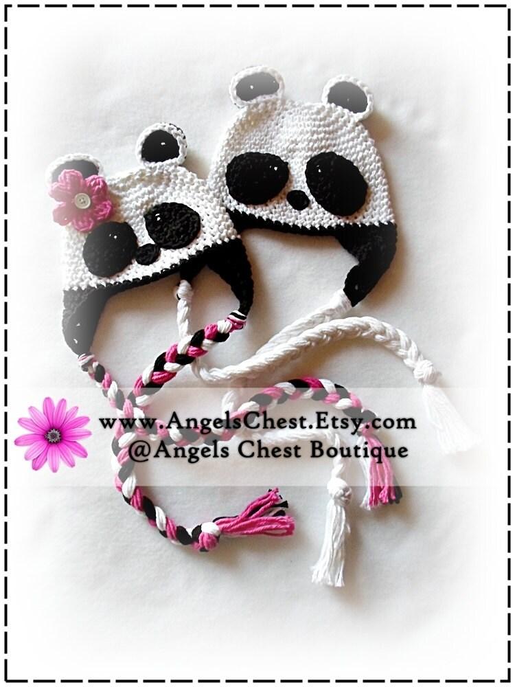 Panda Bear Earflap Hat Crochet Pattern : PANDA BEAR Boy and Girl Crochet Hat PDF Pattern Sizes Newborn