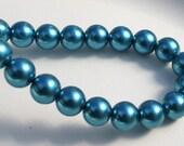 Glass Pearls 6mm Teal Blue Glass Pearls 74pcs