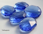 25x20x11mm Transparent Blue Oval Nugget Faceted Royal Blue Beads 7pcs
