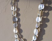 Vintage mother of pearl button necklace hand knotted - One of a Kind