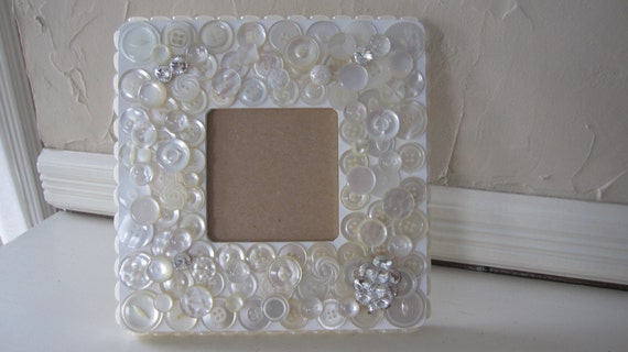 Handmade Vintage Button Crystal Wedding Picture Frame One