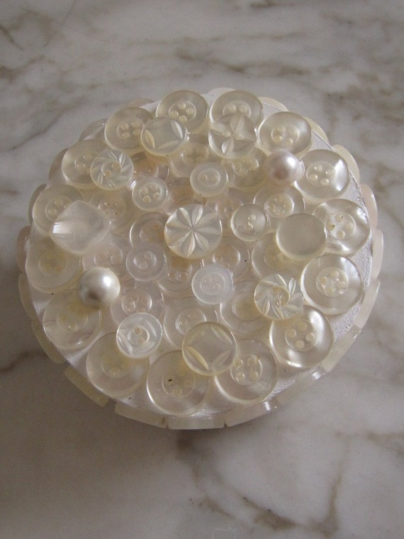 Handmade vintage button, swirl, pearl, flower, small petite pearlized white jewelry trinket box something old for wedding - One of a Kind