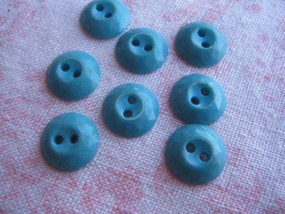 Vintage small cornflower blue diamond cut edge design. Wholesale lot of 8.