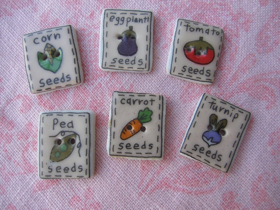 Gardeners delight vegetable seed packet design ceramic square buttons. Wholesale lot of 6.