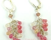 Sapphire Earrings, a Bouquet of Pastel Pinks, Reds, Whites and Yellow