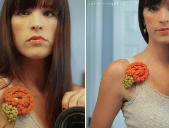 Orange Rosebud Crochet Flower Clip- READY TO SHIP