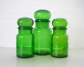 Green Glass Apothecary Jars