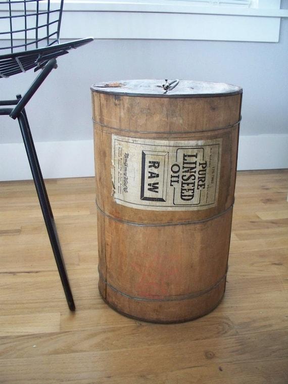 Rustic Wood Drum Barrel Container