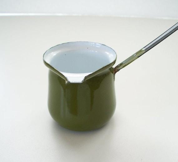 Enamelware Avocado Green Turkish Coffee Pot Butter Warmer