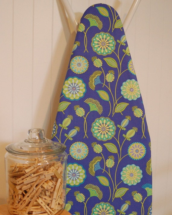 Designer Ironing Board Cover - Michael Miller Gypsy Bandana Moon Flower in Periwinkle