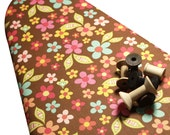 PADDED Ironing Board Cover made with Riley Blake Sweet Nothings brown flowers pink yellow green light blue peach