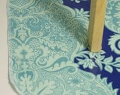 Laminated Cotton Oilcloth Splat Mat  Art cloth kids tablecloth high chair Amy Butler blue turquoise damask SELECT THE SIZE