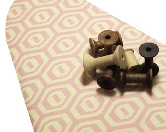 Standard Size Ironing Board Cover ELASTIC BINDING made with Amy Butler Honeycomb in pink and cream