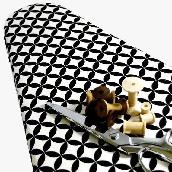 PADDED Ironing Board Cover made with Alexander Henry's black and white geometric eye Fabric