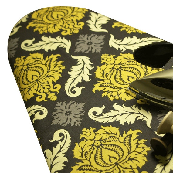 Last One PADDED OVERSIZE roning Board Cover 18 x 49 made with Joel Dewberry Aviary 2 Damask in Charcoal gray and yellow gold