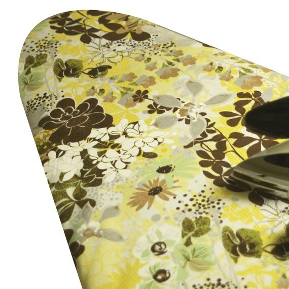 BOGO CLEARANCE SALE Standard Ironing Board Cover Basic Grey Origins floral collage browns grays green yellow