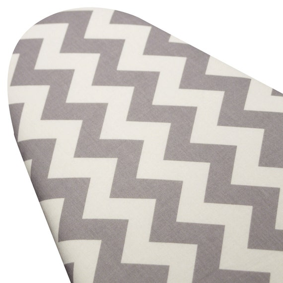 Standard Size Ironing Board Cover with ELASTIC BINDING made with Riley Blake Gray and White Chevron Grey and White