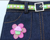 Mini Skirt Purse Blue Jean Cupcake Pink Green Flower