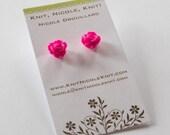 HALF PRICE Magenta Fuchsia Pink Plastic Resin Rose Flower Earrings