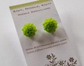Lime Green Chrysanthemum Dahlia Flower Earrings