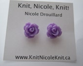 Lavender Purple Plastic Resin Rose Flower Earrings