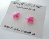 Hot Pink Plastic Star Earrings