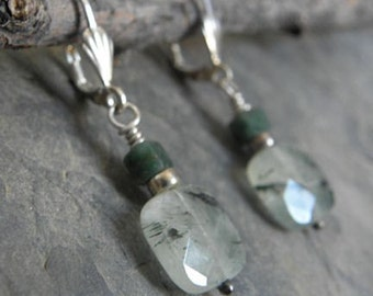 Faceted Green Rutilated Quartz and Jade Earrings
