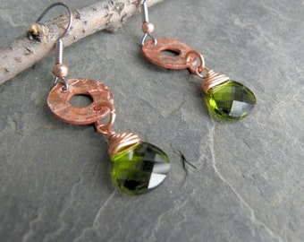 Green Swarovski Crystals Hang Below Hammered Copper Rounds
