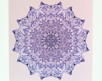 "12x12 Peaceful Mandala Chakra Art ""Light Heart"" - Archival Print Sacred Geometry"