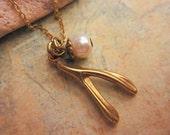 ON SALE - Wishbone Necklace, Charm Necklace, Gift Ideas, Wishbone Charm, Jewelry