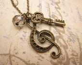 Music Necklace, Key Necklace, Gift Ideas, Friendship Necklace, Handmade Necklace, Charm Necklace