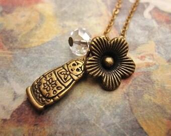 ON SALE Matryoshka Necklace, Flower Necklace, Gift Ideas, Charm Necklace, Friendship Necklace