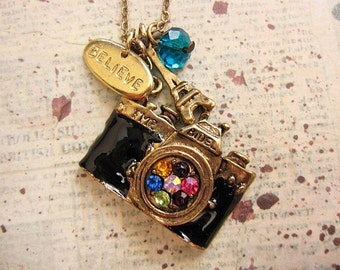 Vintage Style Camera Necklace with believe charm and Eiffel Charm