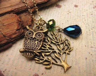 Owl Necklace, Tree Necklace, Friendship Necklace, Gift Idea, Handmade Necklace, Bridesmaid Gift, Best Friend Gift, Charm Necklace