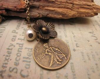Little Prince Charm Necklace, Best Friend Gift, Gift Ideas, Flower Charm, Friendship Necklace