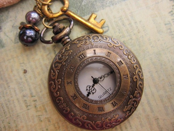 Ornate Style Pocket Watch Necklace with key and faux pearls