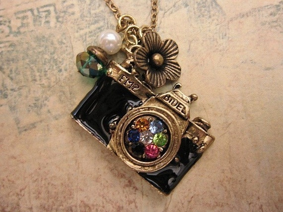 Camera Necklace, Flower Charm, Friendship Necklace, Gift Idea, Handmade Necklace, Bridesmaid Gift, Best Friend Gift, Charm Necklace