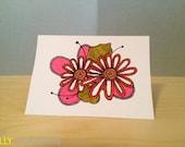 Doodled Flowers Blank Notecard
