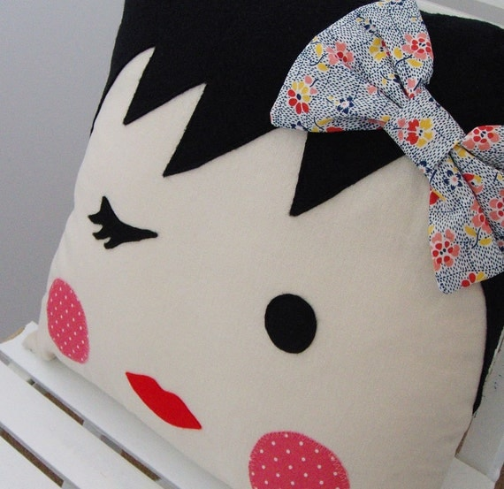 Reserved Listing for LisaKBerry - Winking Girl Face Pillow - Blue Floral (227)