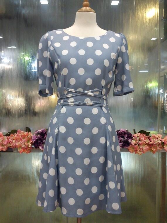 Retro Greyish Blue polka dots sleeve dress