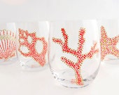 Sea Motif Hand Painted Glasses, Coral & Gold S/4