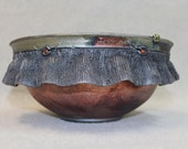 Copper Raku Pot with Ruffle and Red Sculpted Buttons