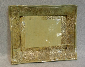 Stoneware Serving Tray with Stamped Design