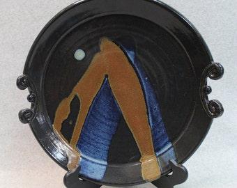 Black Sculpted Serving Platter
