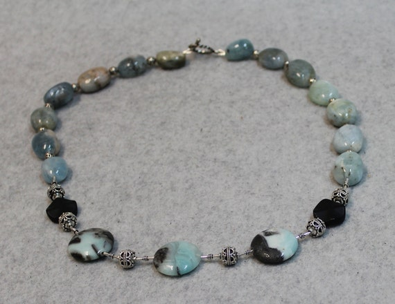 Beaded Necklace with Amazonite Stones and Sterling Silver Beads
