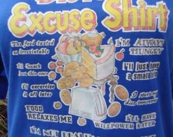 SALE! -  vintage tshirt DiETER EXCUSE 80s XL diet food eat