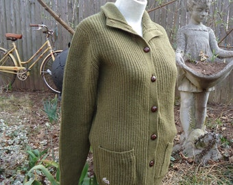 vintage Izod Lacoste For Her forest green wool CARDIGAN SWEATER Medium