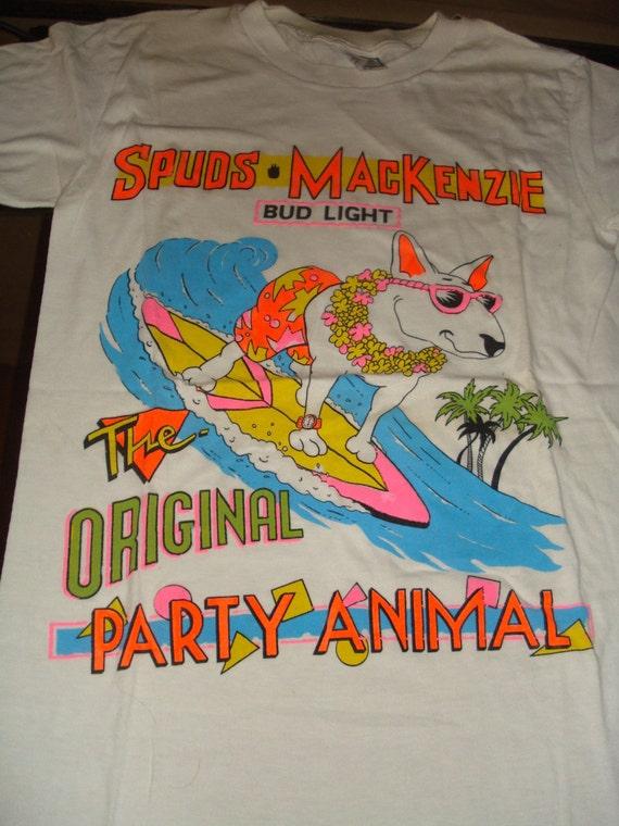 Vintage Classic 80s Spuds Mackenzie Bud Light T Shirt Surf